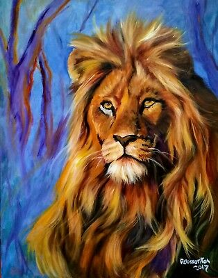 """MAJESTIC oil on canvas 28x22"""" colorful lion looking at the viewer  JANUARY SALE!"""