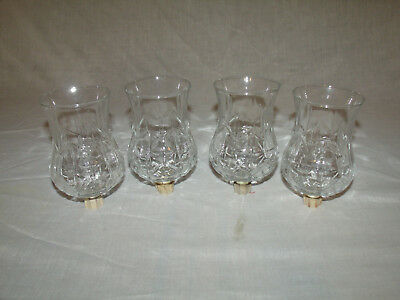 (4)  Tall Clear Glass Diamond Pattern Home Interior Votive Cup Candle Holders