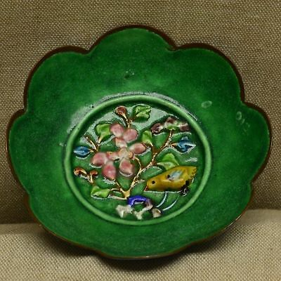 Antique CHINESE ENAMEL ON COPPER SCALLOPED BOWL DISH, BIRD PRUNUS BLOSSOMS