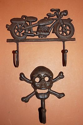 (2)pcs, Vintage Motorcycle Wall hook, Biker Garage Wall Decor, Solid Cast Iron