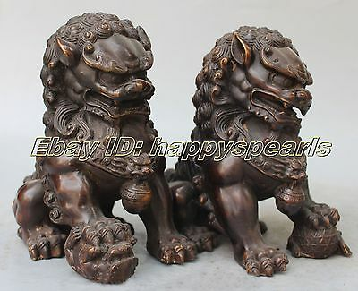 """8"""" Old Bronze Fengshui Foo Fu Dog Guardion Phylacter Lion Ball Pair Statue 20cm"""