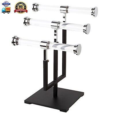 AMKO CSR-T3 3-Tier Jewelry Stand, Acrylic Displays with Metal Base
