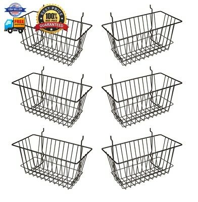 Econoco - Black Multi-Fit Narrow Wire Basket for Slatwall, Pegboard or Gridwall