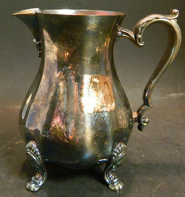 """Antique Footed Ornate Oneida Silverplate Creamer 5"""" x 3.25"""" Very Good Condition"""