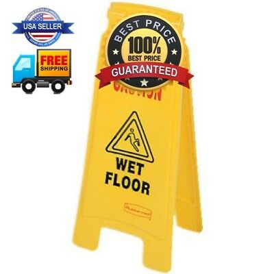 """Rubbermaid Commercial 2-Sided Floor Safety Sign with """"Caution Wet Floor"""" Imprint"""