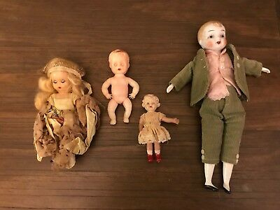Vintage Lot Of 4 Small Dolls Plastic and Porcelain