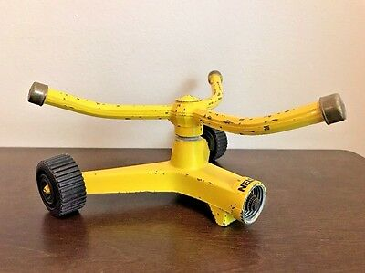 Vintage Nelson Sprinkler Lawn & Garden Pulsating Spinning Yellow Tested Working