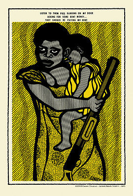 """Emory Douglas """"They Should Be Paying My Rent"""" Rare Artwork Reproduction + Signed"""