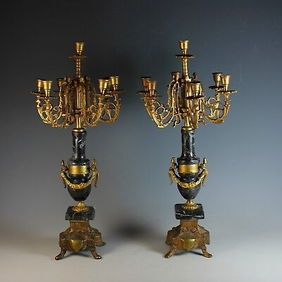 Pair of Louis XV Style Gilt Metal Seven Light Candelabra With Black Marble Base