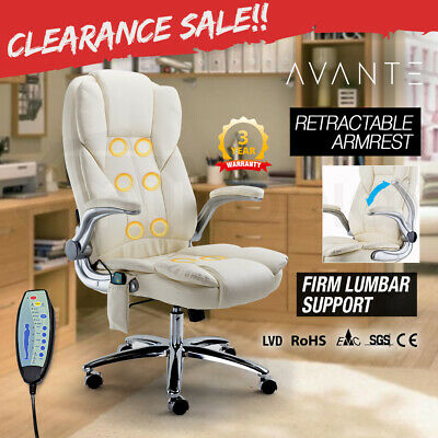 AVANTE 8 Point Massage Executive Office Computer Chair-PU Leather Remote - Beige