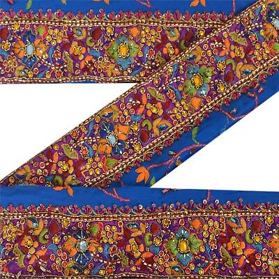 Sanskriti Vintage Sari Border Antique Hand Beaded 1 YD Trim Sewing Blue