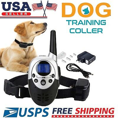 300Yard Waterproof Shock Vibrate Remote Training Collar for Large Med Small Dog