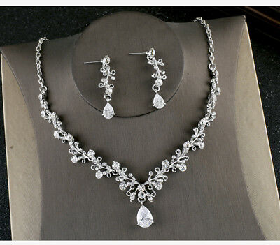 Drip Cubic Zirconia Crystal Pierced Clip on Wedding Party Prom Necklace Earrings