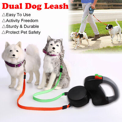 3 Meter 50Lbs Per Retractable Dual Double Pet Leash Zero Tangle Walk For Two Dog