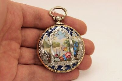 Antique Silver Enamel Ottoman Face Amazing Fruit Decorated Strong Pocket Watches