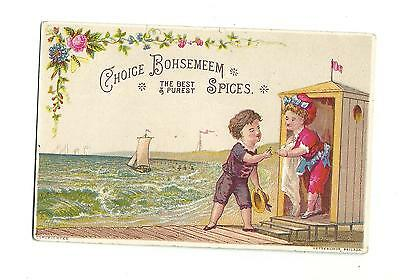 Old Trade Card Choice Bohsemeem Spices Bath House Beach Weikel Smith Spice Phila