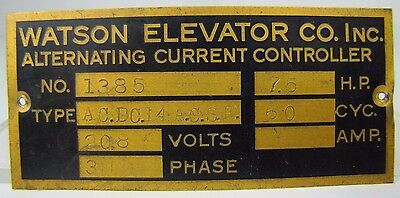 Old WATSON ELEVATOR Co Plaque Nameplate Sign building architectural hardware