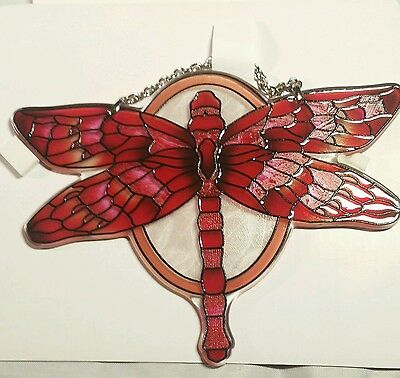 """joan baker hand painted stained glass  5x7"""" red dragonfly thick glass suncatcher"""