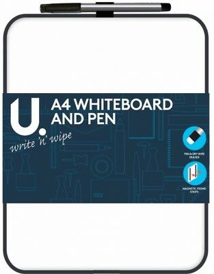 20x27cm DRY WIPE WHITEBOARD WITH ERASER PEN, MAGNETIC FIXING PADS WHITE BOARD
