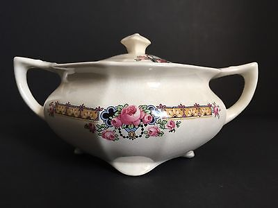 Vintage Sugar Bowl With Lid, T.S.&T. Paramount Ivory, floral design