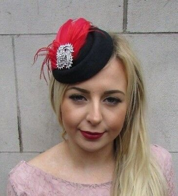 Black Red Silver Diamante Feather Pillbox Hat Hair Clip Fascinator Races 4972