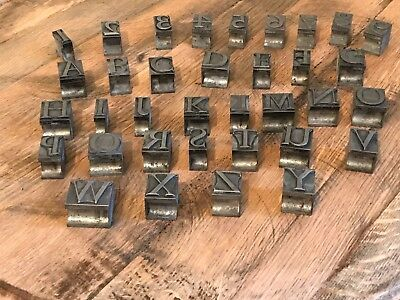 Old Hot Metal Steel Printing Block Letters Numbers Letterpress 25mm Tall Font