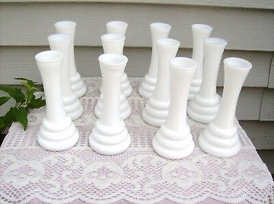 "12 BUD BASE Lot Vintage 6"" WHITE Milk Glass Wedding Florist Shower Anniversary"