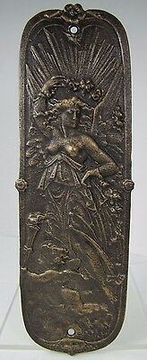 Cast Iron Partially Nude Maiden Cherub Art Nouveau Styl Door Push Hardware right