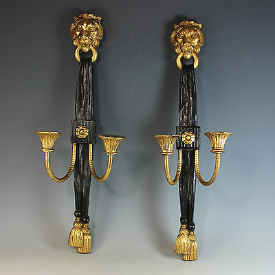 Pair of Painted Black Wall Sconces with Gilded Lion Heads