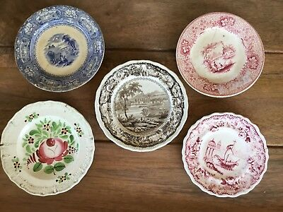 Antique Assorted Lot Of Miniature Transferware & Other Miniature Plate As Is