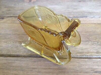 Antique Eapg Amber Glass Open Cellar ( Figural Sleigh ) As Is Damaged