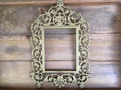 """VINTAGE CAST METAL GILTED ORNATE PICTURE ( 5""""x7"""") FRAME AS IS"""