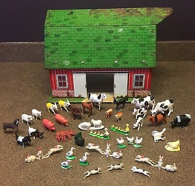 Vintage Marx Happi Time Barn Farm Set Animals