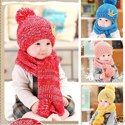 Winter Infant Kids Girl Boy Hats Knitted Woolen Hood Scarf Beanie Caps Hat Hot