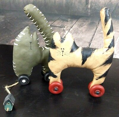 Folk Art Primitive 2 Cats on Wheels Soft Sculpture Stuffed Hand Painted Muslin