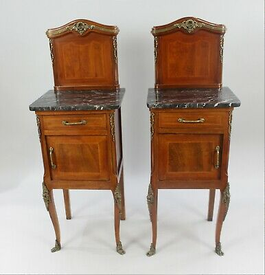 Pair of Late 19th c. Mahogany Inlaid Marble Topped Bedside Cabinets