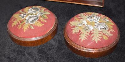 Pair of Victorian Petit Point Beaded Needlework Footstools