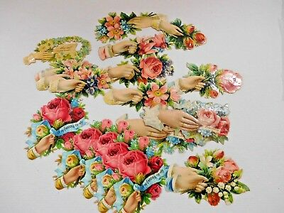 Very Nice  Lot of Antique Hand and Flowers  Die Cut Scraps ~