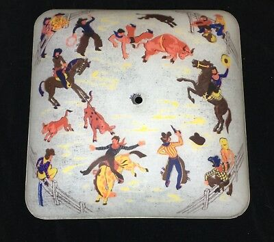 Vintage 1950's Western Cowboys Reverse Painted Glass Ceiling Light Shade Cover