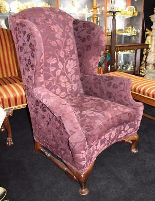 Antique English Victorian High Back Mahogany Armchair