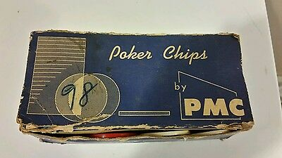 VINTAGE  Box of 100 Poker Chips - No 111 by Plawood-Mormac Corp. Ohio