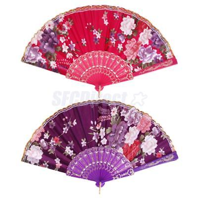 Rose Red & Purple Spanish Flower Floral Fabric Folding Hand Dance Fan Party
