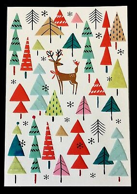 unicef holiday cards deer multi colored xmas trees box of 12 nib free - Unicef Holiday Cards