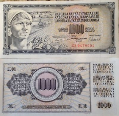 YUGOSLAVIA 1981 1000 DINARA P-92b UNC BANKNOTE WOMAN & FRUITS FROM A USA SELLER
