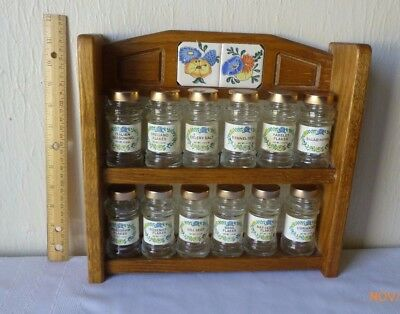 VTG Crystal Food Gourmet Apothecary Spice Jars Wooden Spice Rack Ceramic Inlays