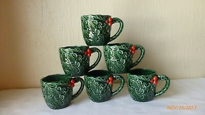 VTG Lefton China Holly Berries Christmas Coffee Mugs Cups Collectible Set of 6