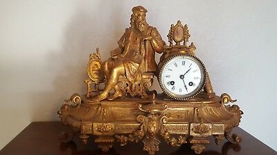 Antique French mantle clock Japy Freres gilt bronze? Spelter?