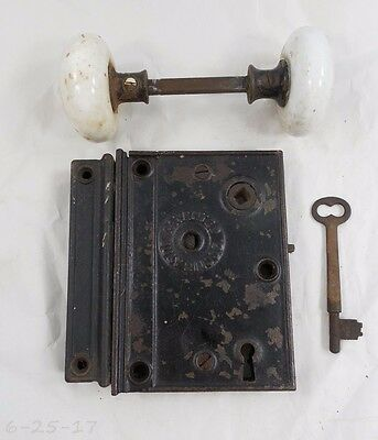 Antique Cast Iron 1873 N W CO Rim Door Lock - Key - Keeper White Porcelain Knobs