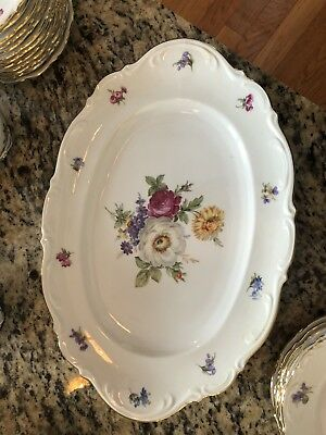 "Mitterteich MEISSEN FLORAL 16"" Oval Serving Platter Bavaria Germany Gold Trim"
