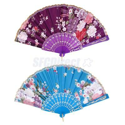 Lake Blue and Purple Spanish Flowers Floral Fabric Folding Dancing Fan Party